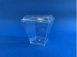 Vaso Postre Cuadrado con Tapa Plana (200 ml)(1x500u)