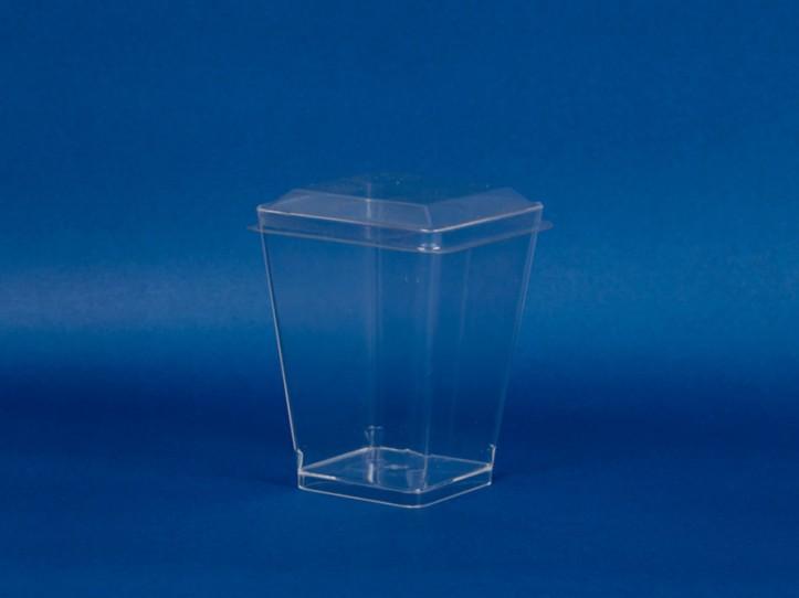 Vaso para Postre Cuadrado con Tapa 150 ml (1x500u)